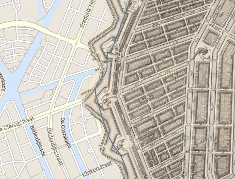 Gravure Bolwerk Rijkeroord, met molen De Bloem, over de huidige plattegrond van de Frederik Hendrikbuurt
